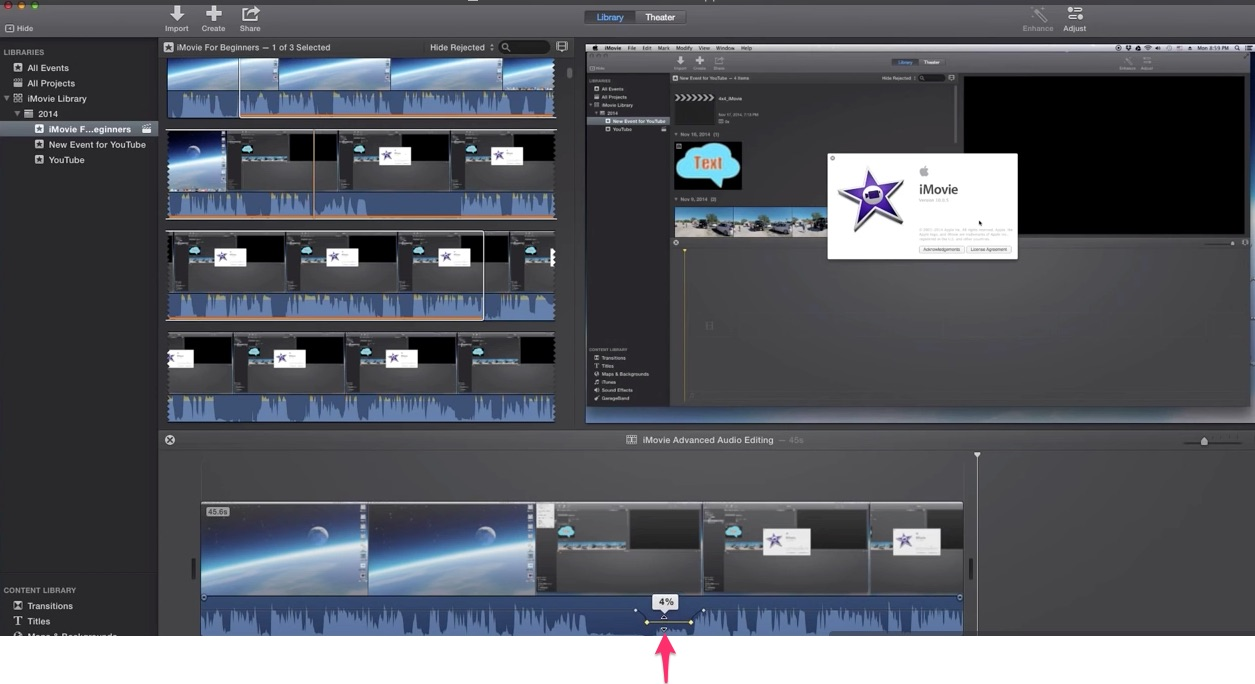 05-click-on-center-of-dots-and-drag-elestic-audio-band-down-in-imovie-to-turn-section-down