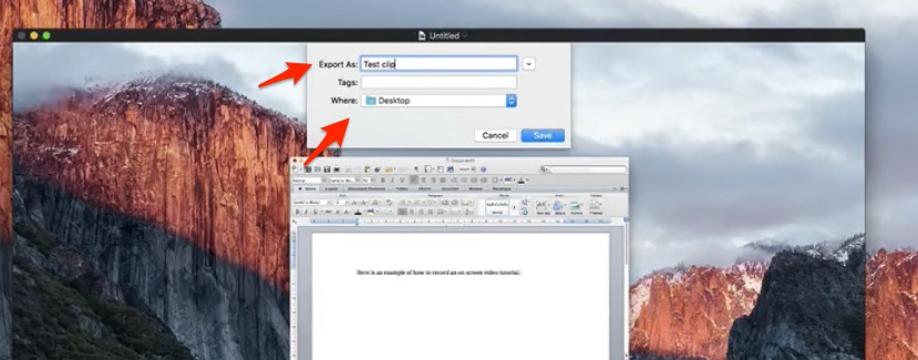 choosing location to save screen recording for course creation on a mac quicktime